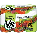 V8 100% Juice Vegetable Low Sodium - 6 ct  5.5 OZ CAN
