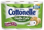 Cottonelle Double Rolls Bath Tissue with Aloe- 6 Roll  6 Rolls