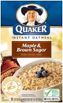 Quaker Instant Oatmeal Brown sugar & Maple  10 PKT BOX