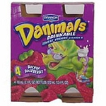 Dannon Danimals Drinkable Yogurt Low Fat Raspberry 3.1 oz ea - 4 ct  12.4 OZ PKG