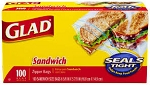 Glad Lock Zipper Sandwich Bags  100 CT BOX