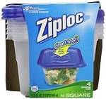 Ziploc Containers Cup Square with Snap & Seal Lids - 32 oz ea  4 CT PKG